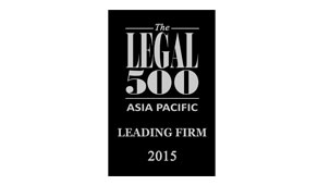 Asia Pacific Legal 500 2015  Regulatory  Tier 3 Ranking