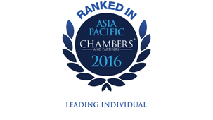 Chambers Asia Pacific (China) 2016 - Restructuring/Insolvency: Band 2; Dispute Resolution: Litigation: Band 5