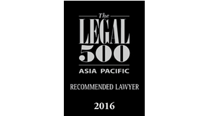 Recommended Lawyer for Corporate and M&A - The Legal 500 Asia Pacific 2016